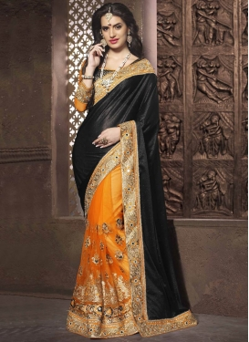 Picturesque Embroidery And Mirror Work Half N Half Designer Saree
