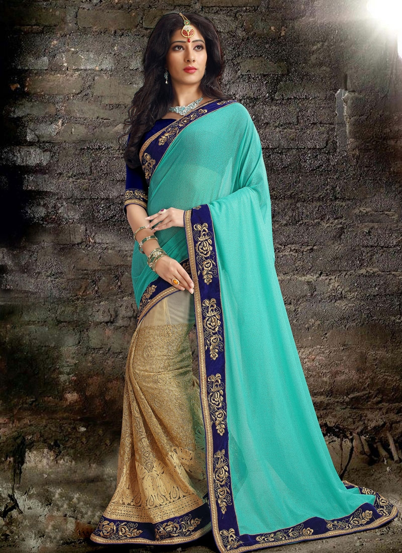 Picturesque Embroidery And Stone Work Half N Half Designer Saree