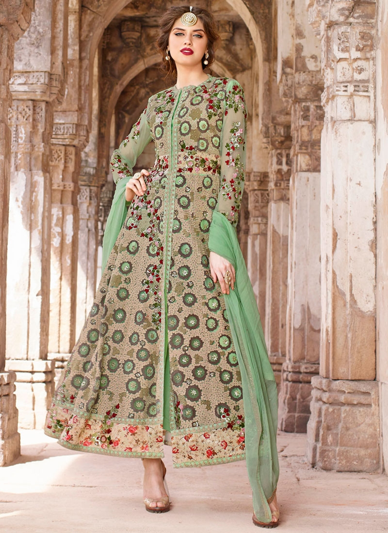 Picturesque Embroidery And Stone Work Wedding Salwar Kameez