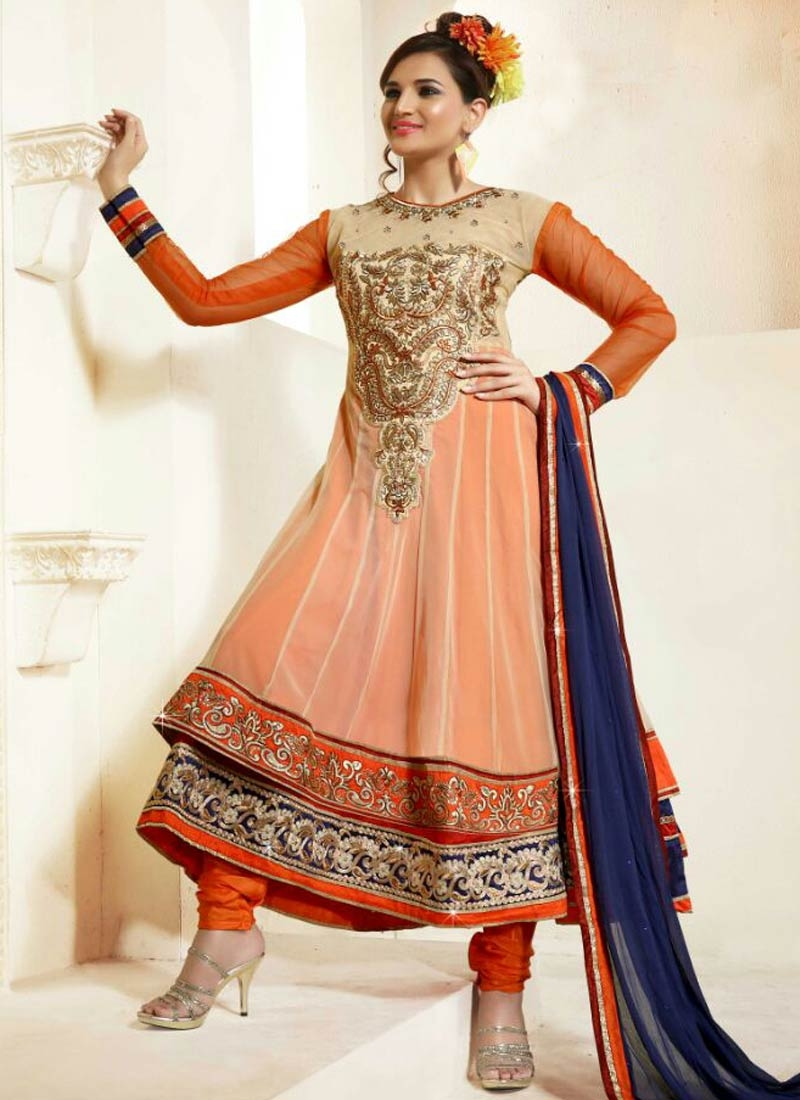 Picturesque Embroidery Work Cream Color Anarkali Suit