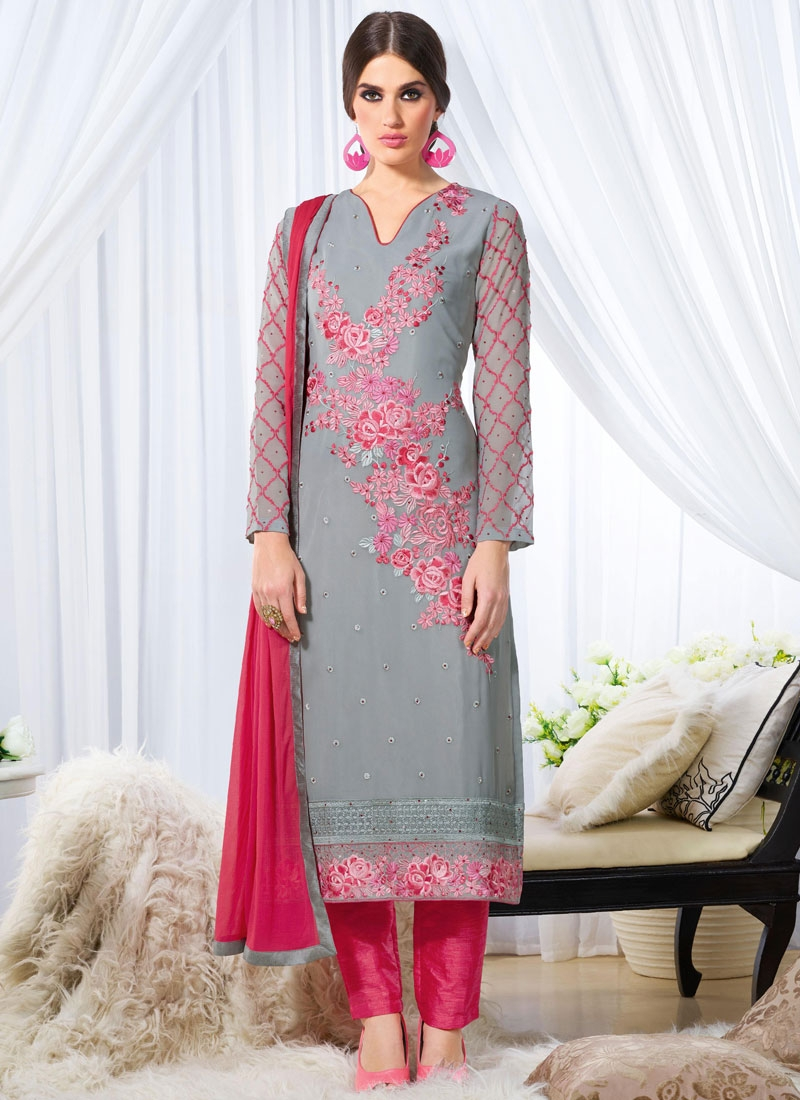 Picturesque Embroidery Work Pant Style Pakistani Salwar Suit