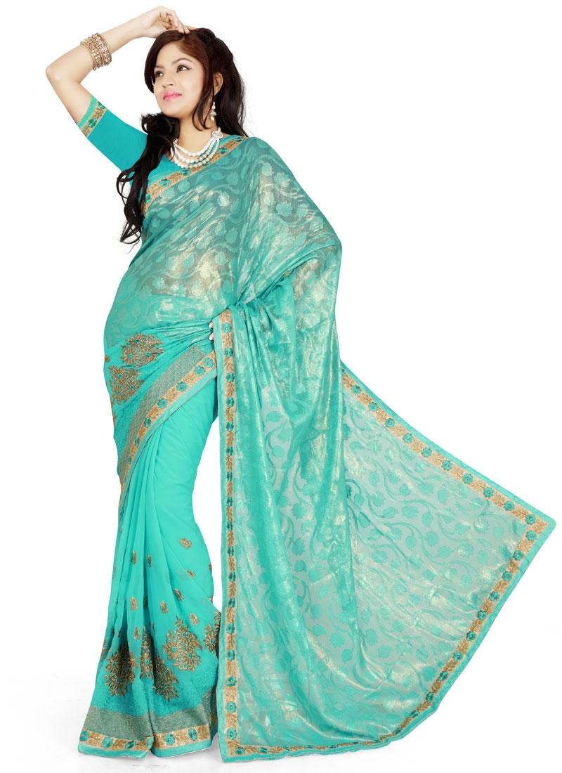 Picturesque Embroidery Work Party Wear Saree