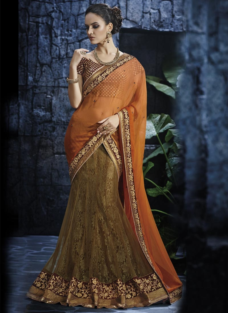 Picturesque Faux Chiffon And Net Lehenga Saree