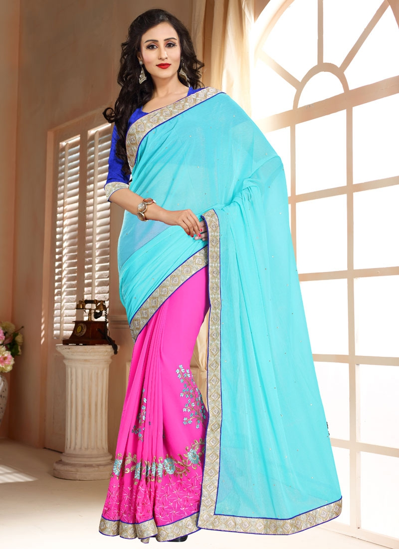 Picturesque Faux Chiffon Half N Half Party Wear Saree