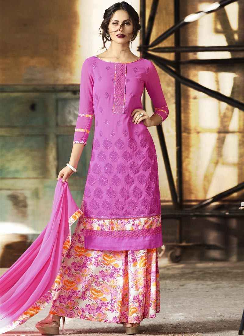 Picturesque Faux Crepe Digital Print Work  Palazzo Straight Salwar Suit