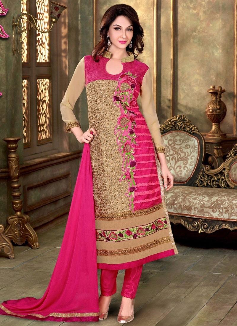 Picturesque Faux Georgette Lace Work Party Wear Salwar Suit