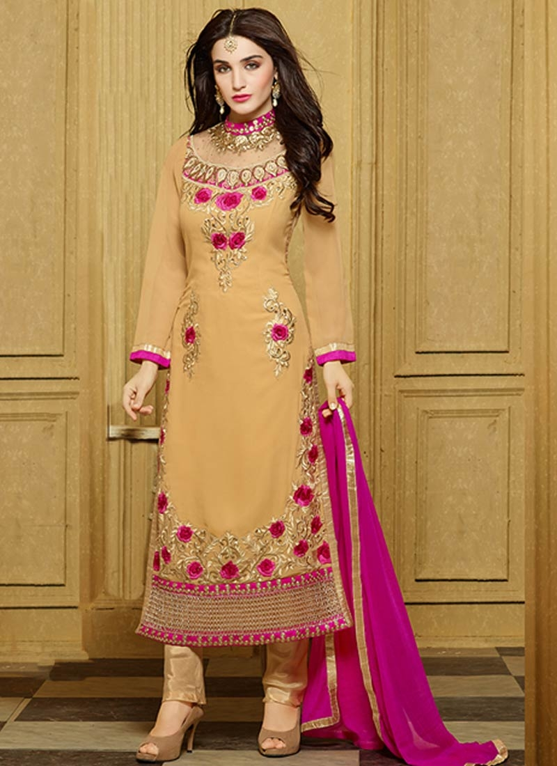 Picturesque Floral And Stone Work Pant Style Party Wear Suit