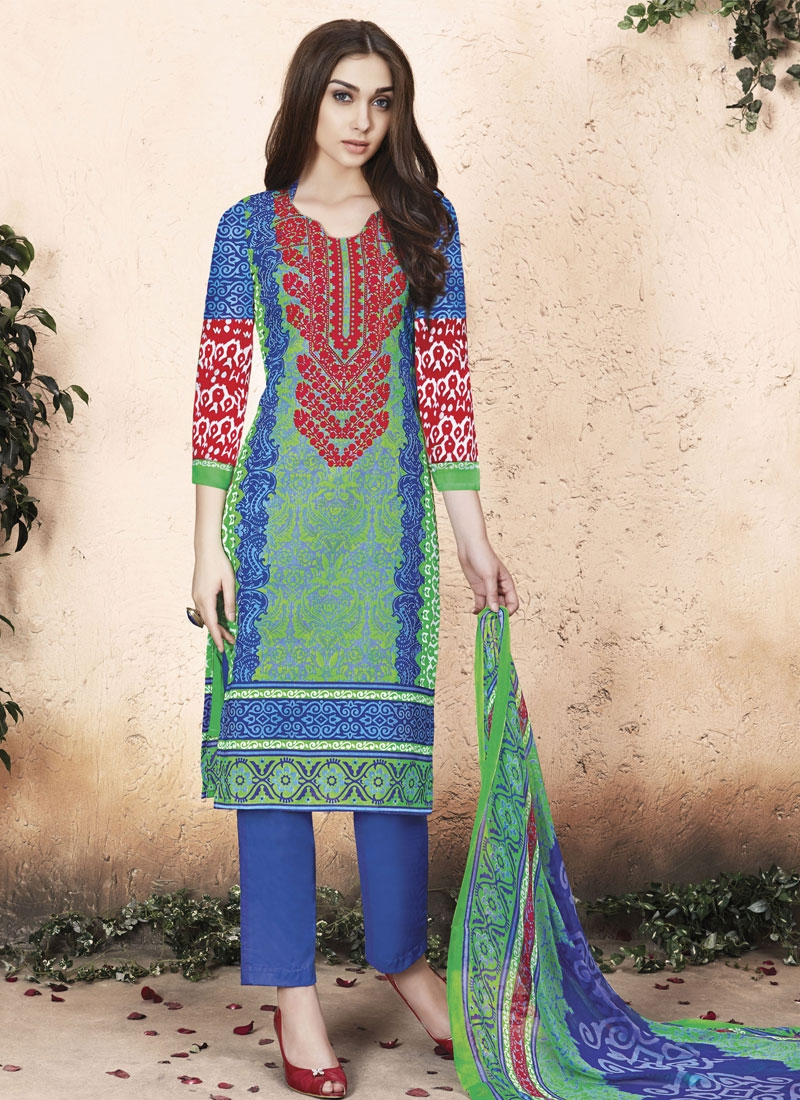 Picturesque Green And Blue Color Pant Style Casual Suit