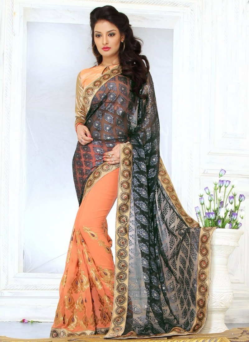 Picturesque Lace Work Faux Georgette Half N Half Party Wear Saree