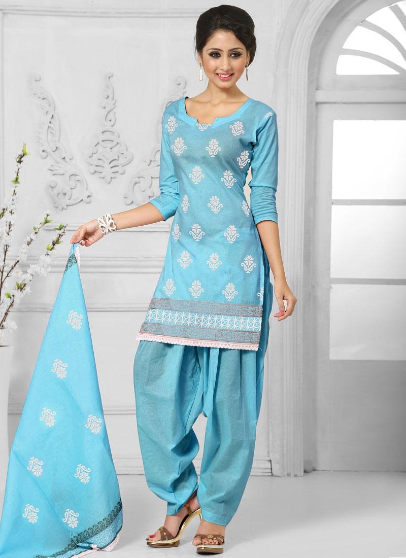 Picturesque Light Blue Color Punjabi Suit