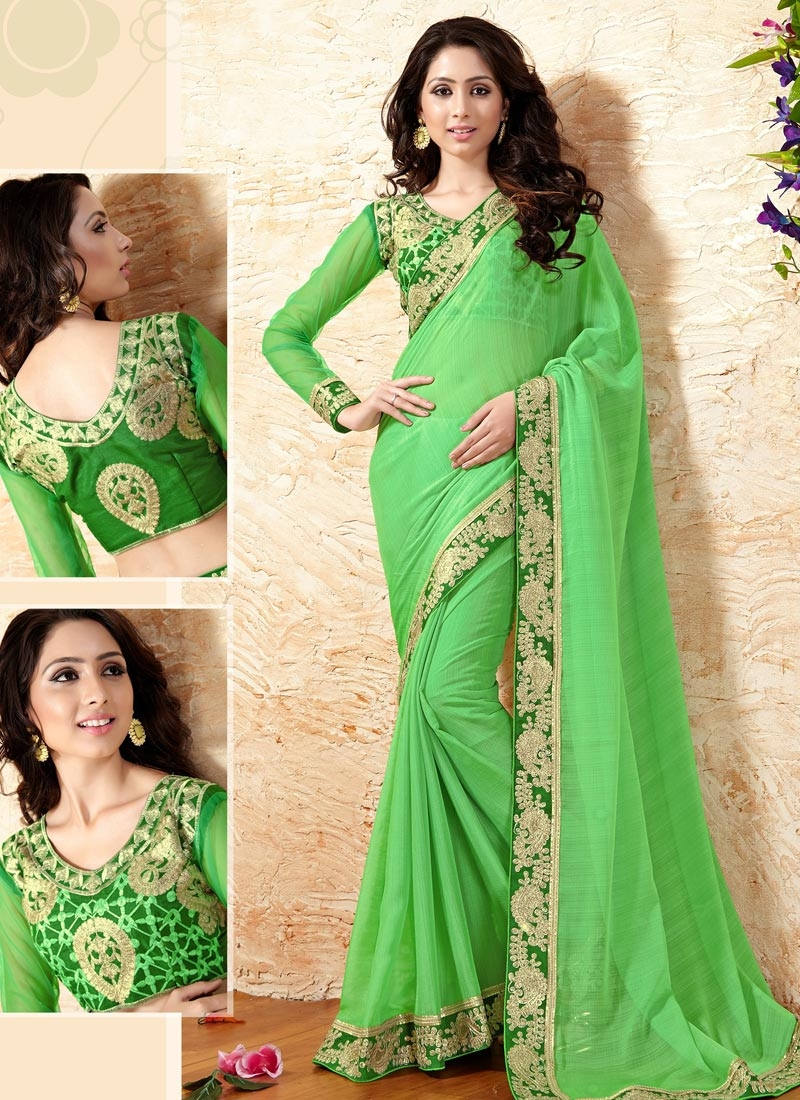 Picturesque Mint Green Color Faux Chiffon Party Wear Saree
