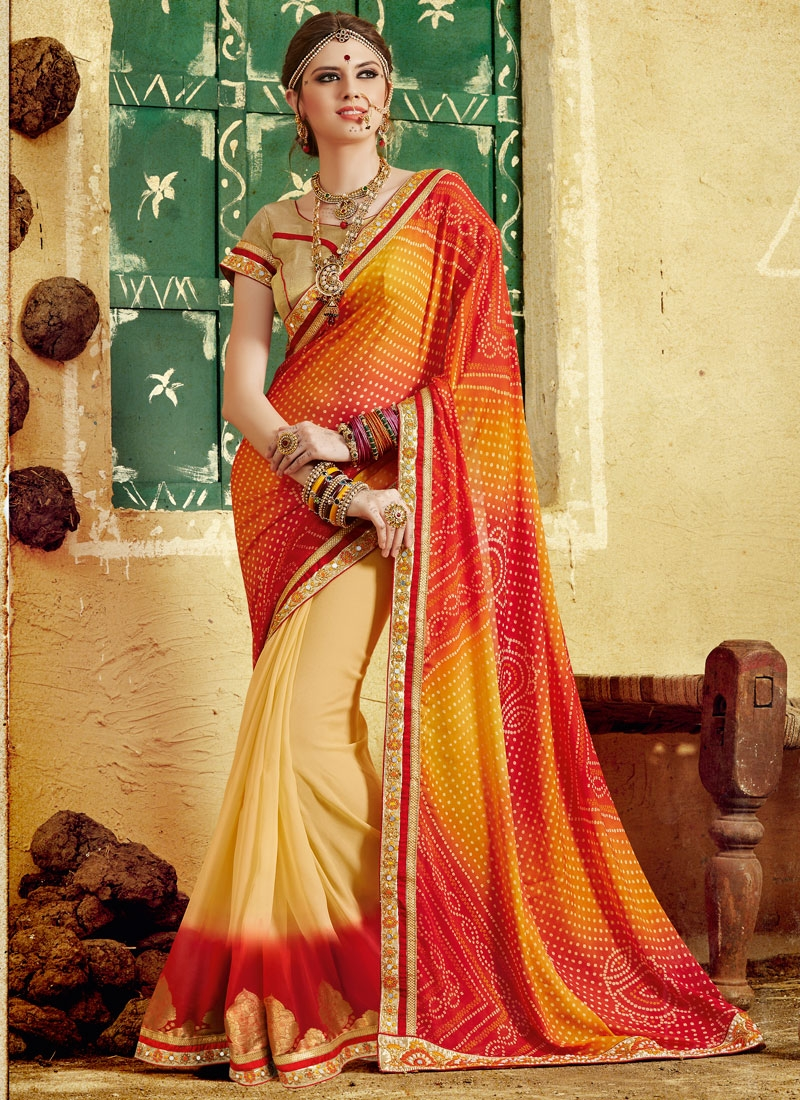 Picturesque Mirror And Beads Work Half N Half Party Wear Saree