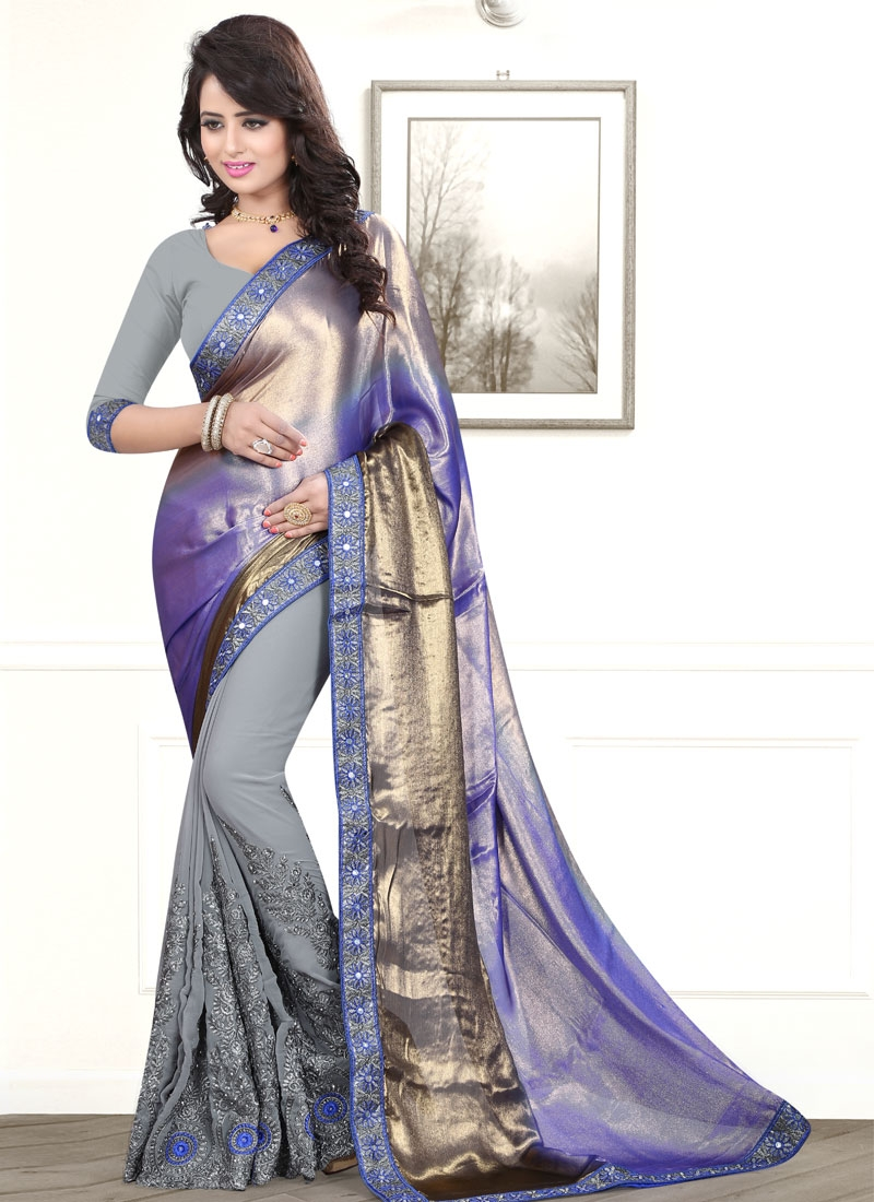 Picturesque Mirror And Booti Work Half N Half Party Wear Saree