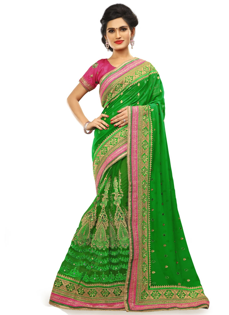 Picturesque Mirror Work Green Color Wedding Saree
