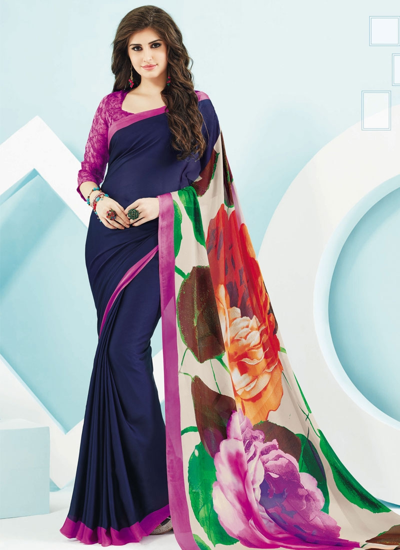 Picturesque Navy Blue Color Casual Saree
