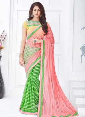 Picturesque Olive and Salmon Half N Half Saree