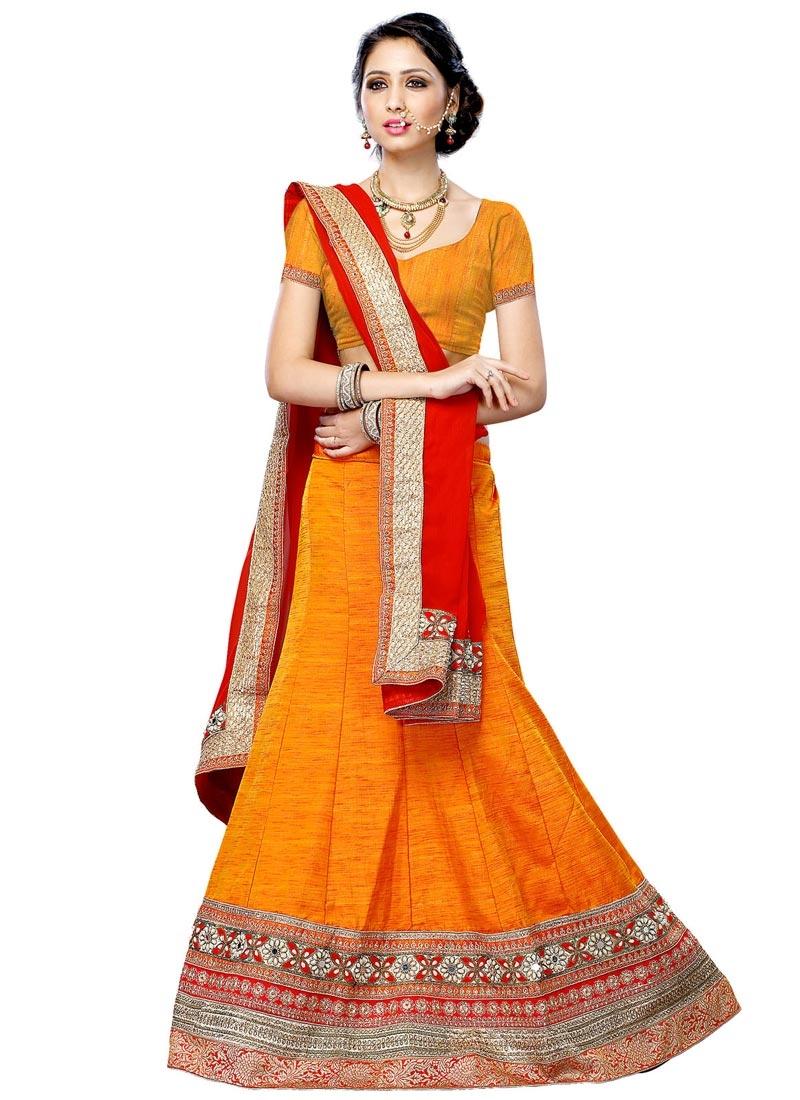 Picturesque Orange Color Silk Designer Lehenga Choli
