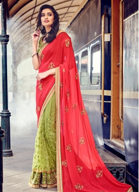 Picturesque Patch Border Work Net Half N Half Designer Saree