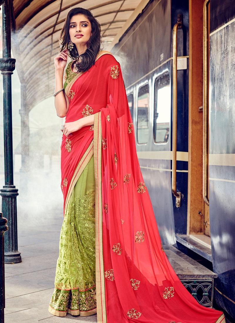 Picturesque Patch Border Work Net Half N Half Designer Saree