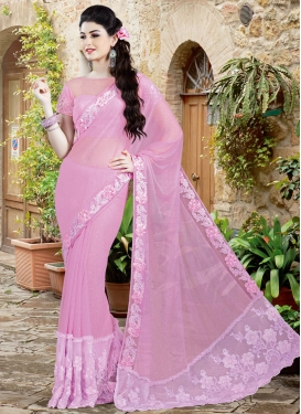 Picturesque Pink Color Lycra Designer Saree