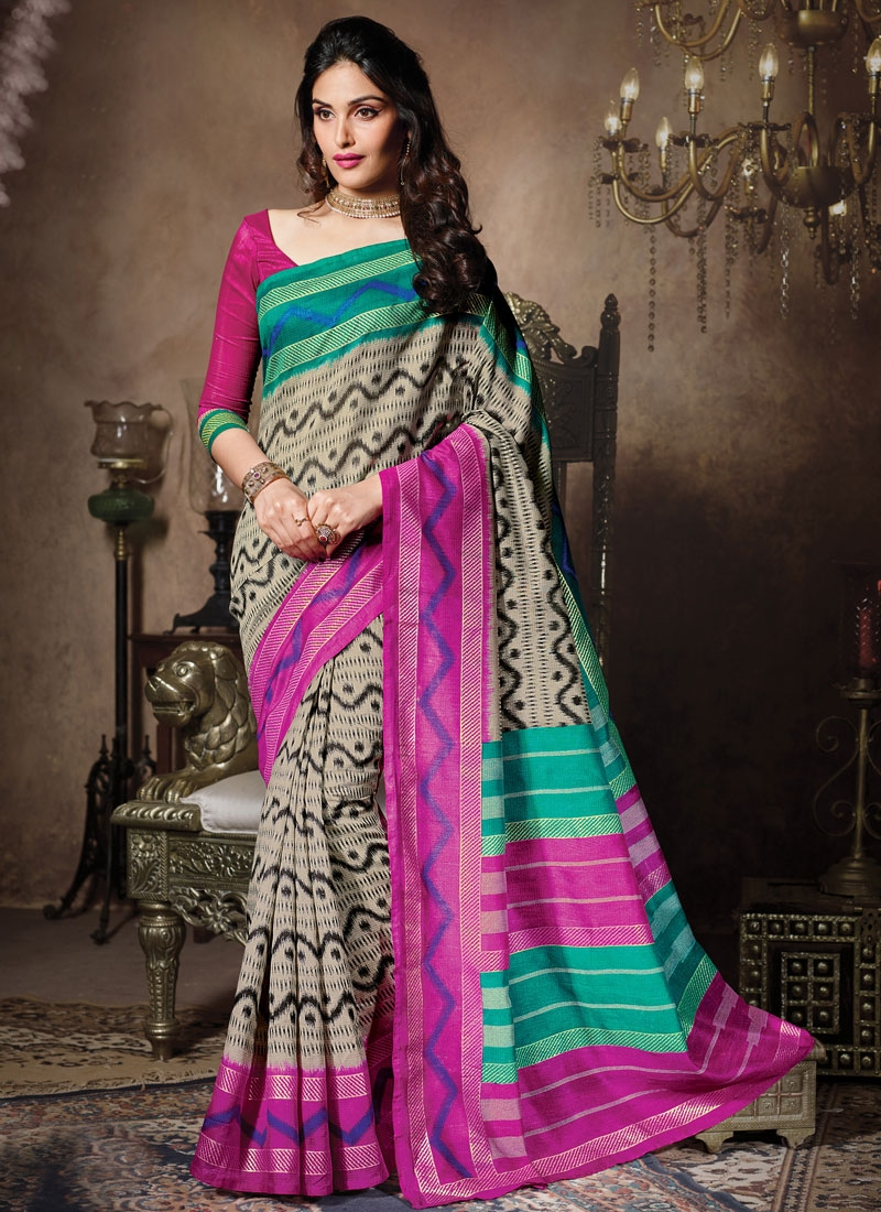 Picturesque Printed Beige Color Casual Saree