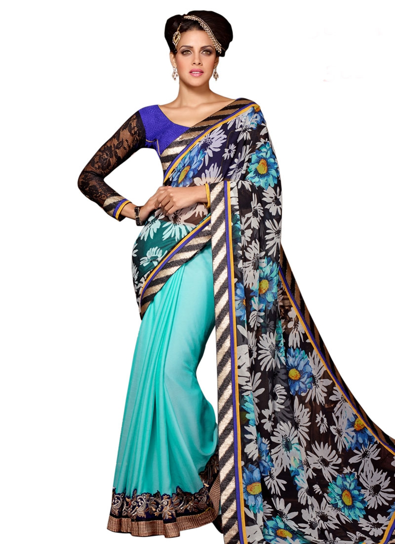 Picturesque Printed Half N Half Party Wear Saree