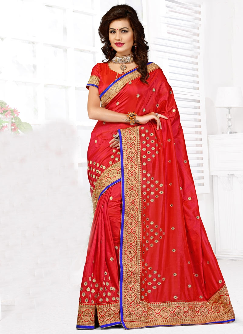 Picturesque Red Color Art Silk Designer Saree