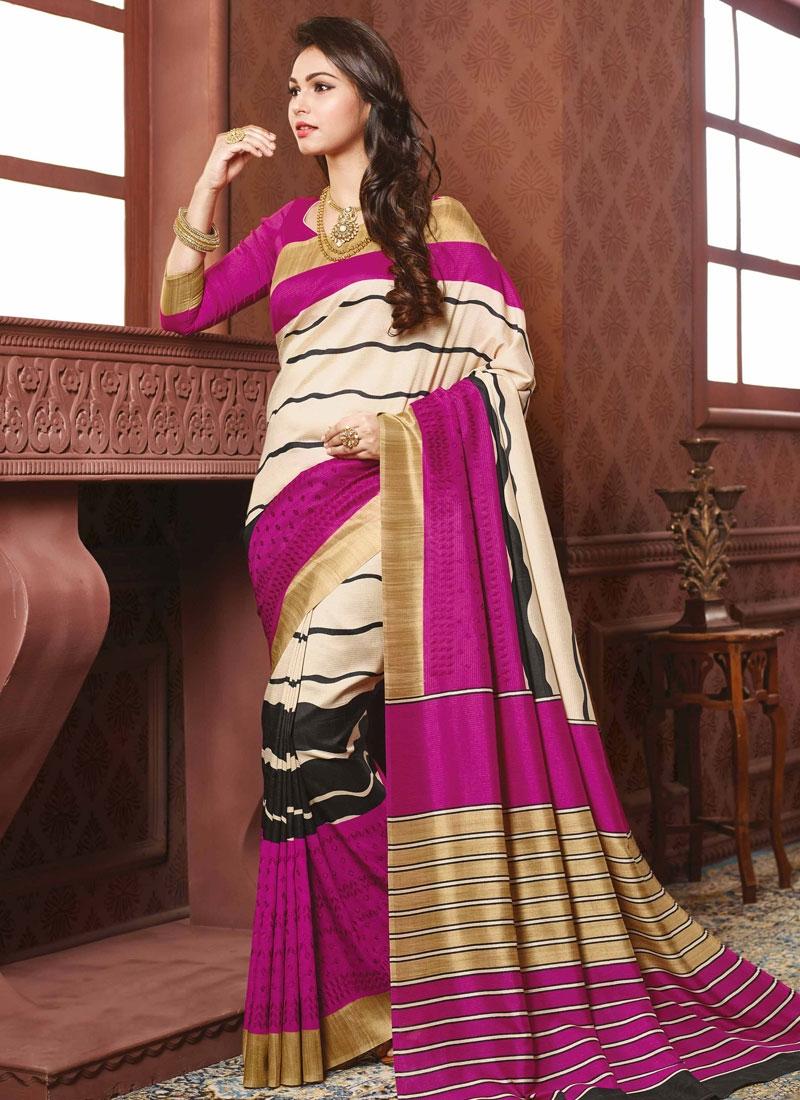 Picturesque Resham Work Cream Color Party Wear Saree