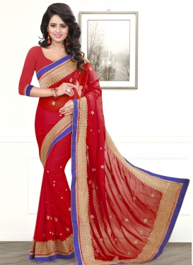 Picturesque Resham Work Faux Chiffon Party Wear Saree