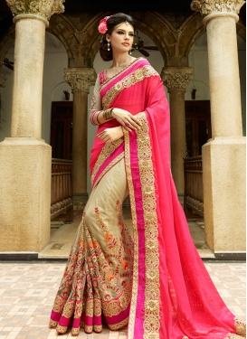 Picturesque Resham Work Half N Half Wedding Saree