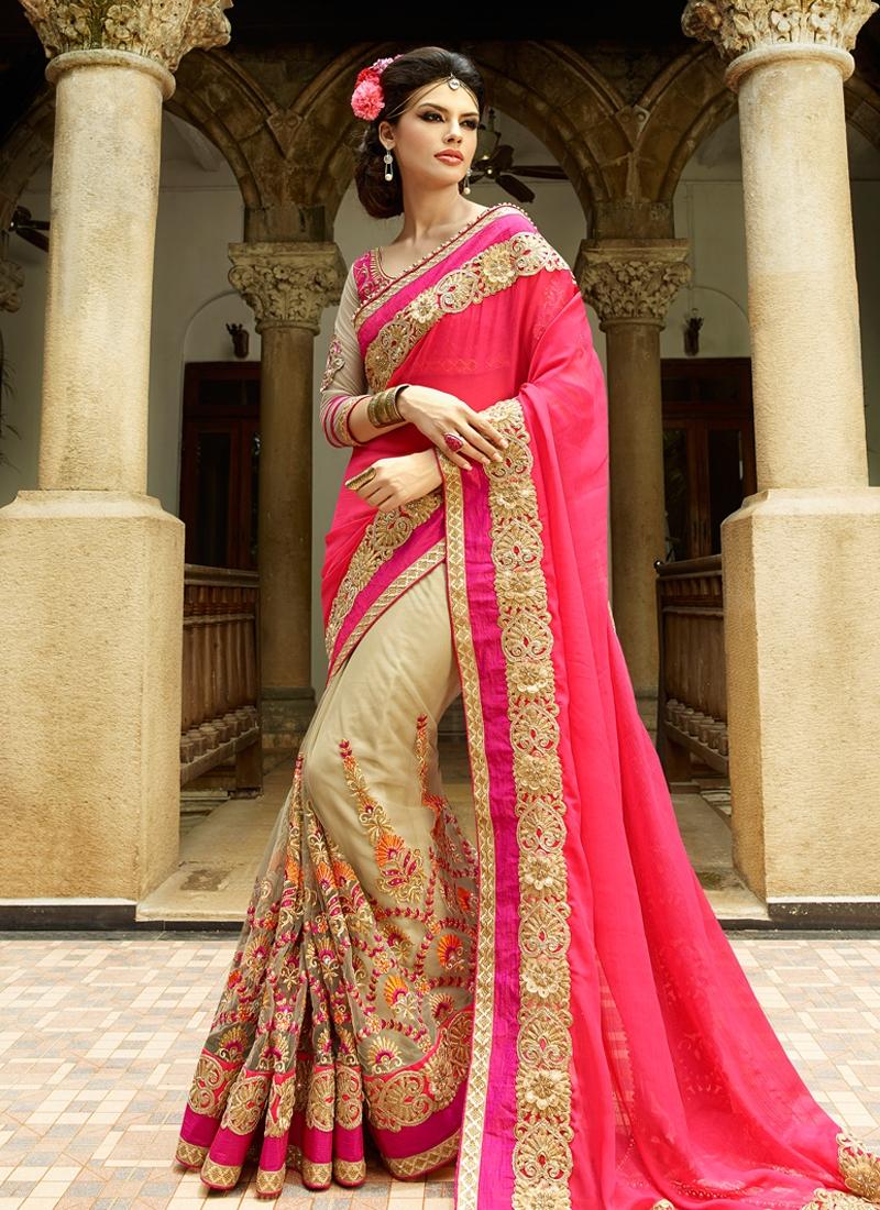 Picturesque Resham Work Half N Half Wedding Saree
