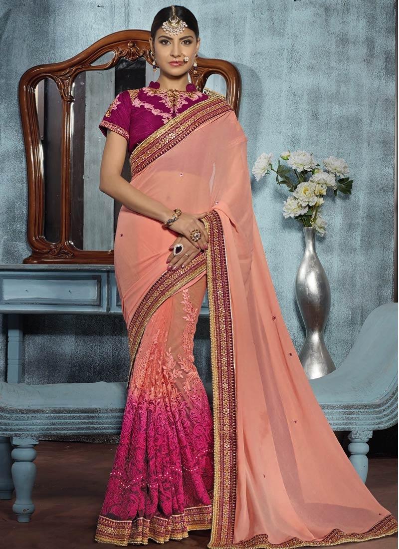 Picturesque Resham Work Peach Color Designer Saree