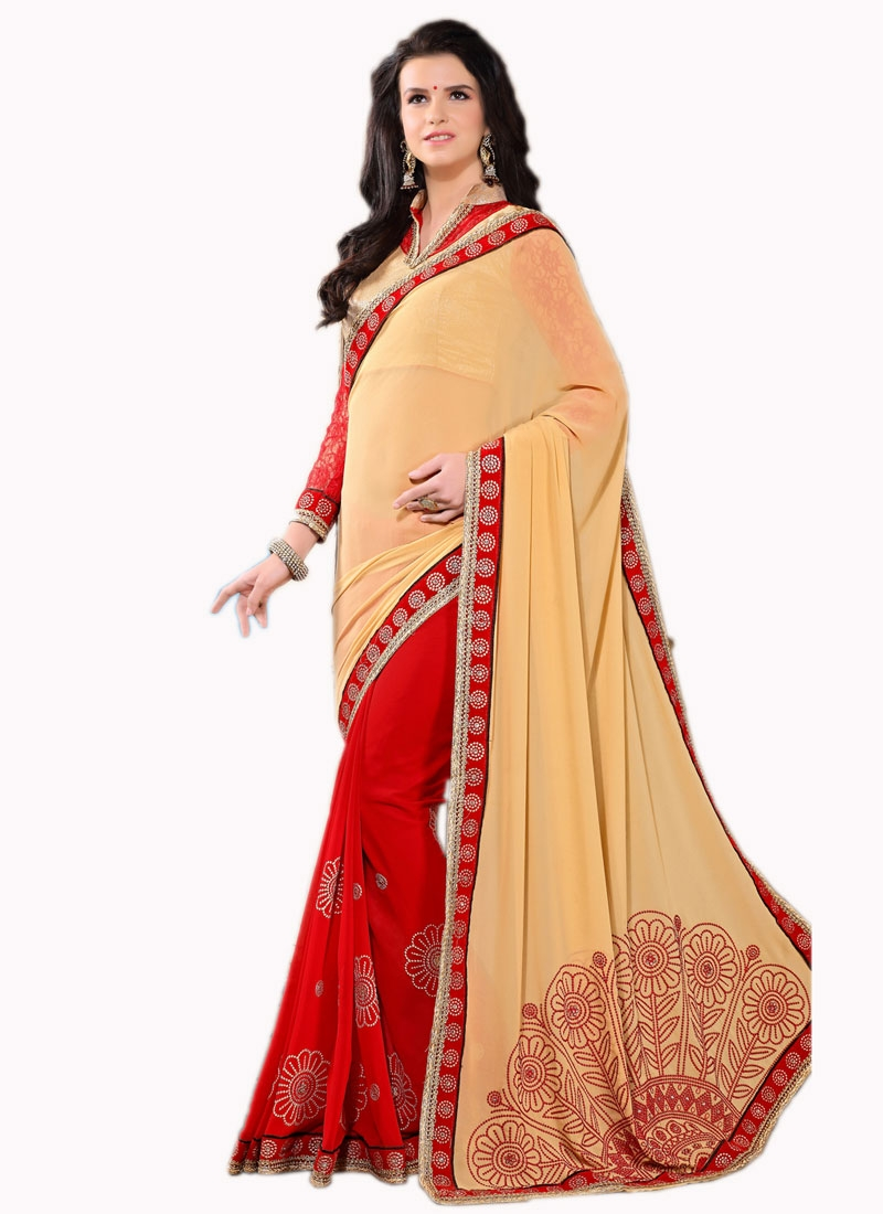 Picturesque Resham Work Red Color Half N Half Party Wear Saree
