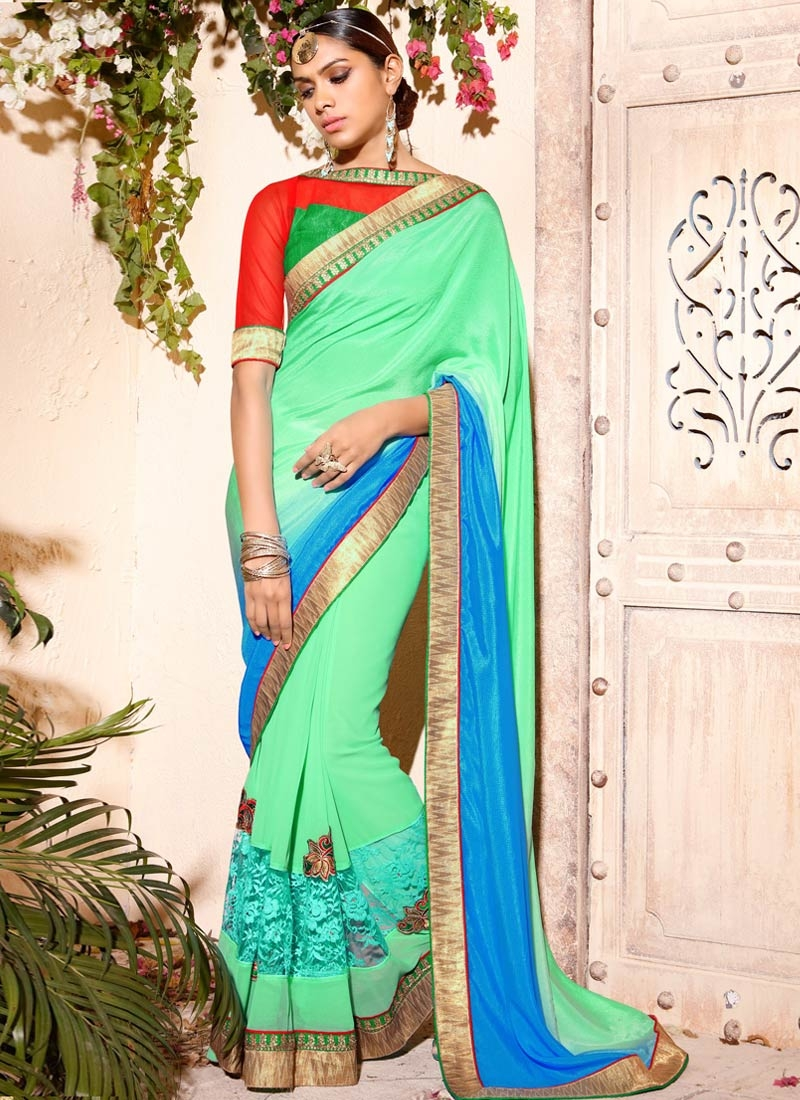 Picturesque Satin Lace Work Party Wear Saree