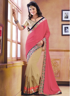 Picturesque Sequins And Lace Work Half N Half Party Wear Saree