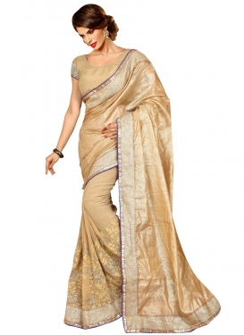 Picturesque Sequins Work Beige Color Party Wear Saree