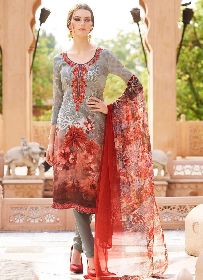 Picturesque Silver Color Lace Work Churidar Salwar Kameez