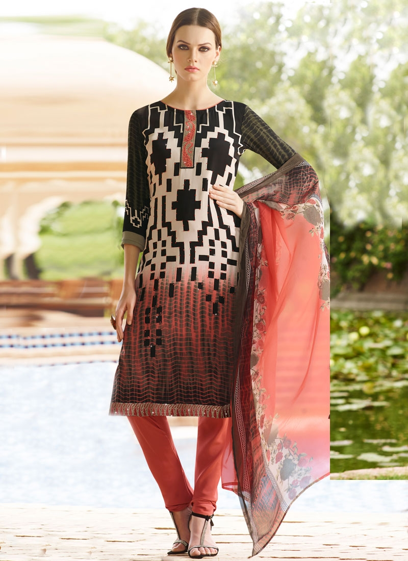 Picturesque Stone And Resham Work Casual Salwar Kameez