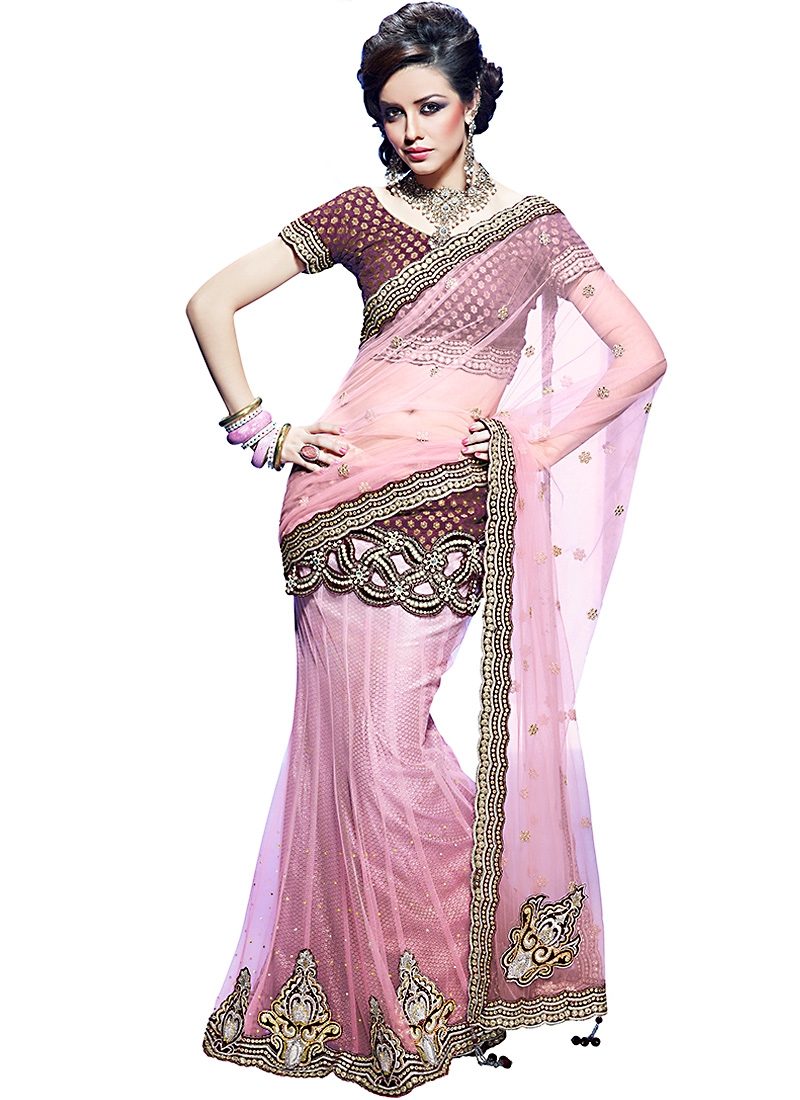 Pink And Brown Net Lehenga Style Saree