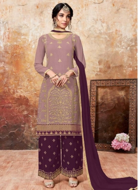 Pink and Purple Faux Georgette Designer Palazzo Salwar Suit