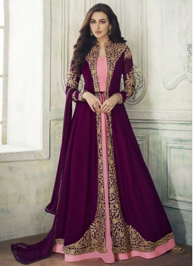 Pink and Purple Jacket Style Long Length Suit For Festival
