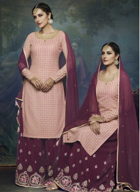 Pink and Purple Palazzo Designer Salwar Kameez For Festival
