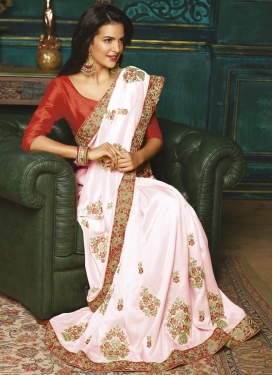 Pink and Red Embroidered Work Classic Saree
