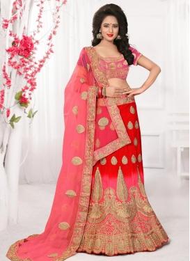 Pink and Red Silk Trendy Lehenga