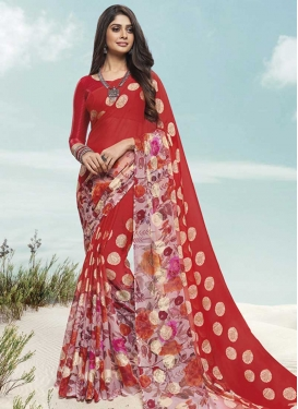 Pink and Red Traditional Designer Saree For Ceremonial