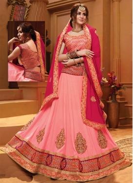 Pink and Rose Pink Booti Work A Line Lehenga Choli