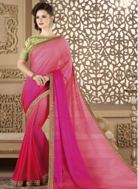 Pink and Rose Pink Classic Saree For Ceremonial