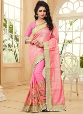 Pink and Salmon Embroidered Work Half N Half Trendy Saree