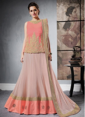 Pink and Salmon Embroidered Work Trendy Long Choli Lehenga