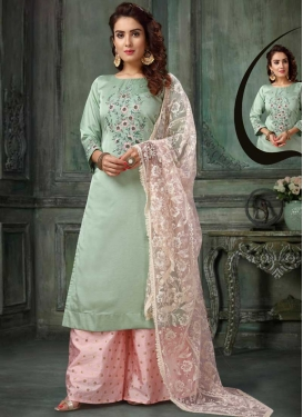 Pink and Sea Green Beads Work Readymade Designer Salwar Suit